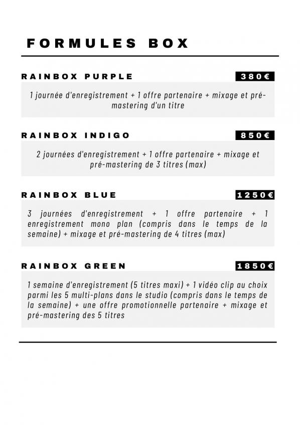 Tarif rainbow event box